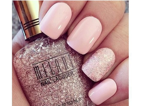 Pastel Pink Nails with One Glitter Pink Nail