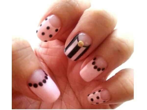 Pink Pastel Nails with Black Decorations, Black Stripes, and One Gold Stone
