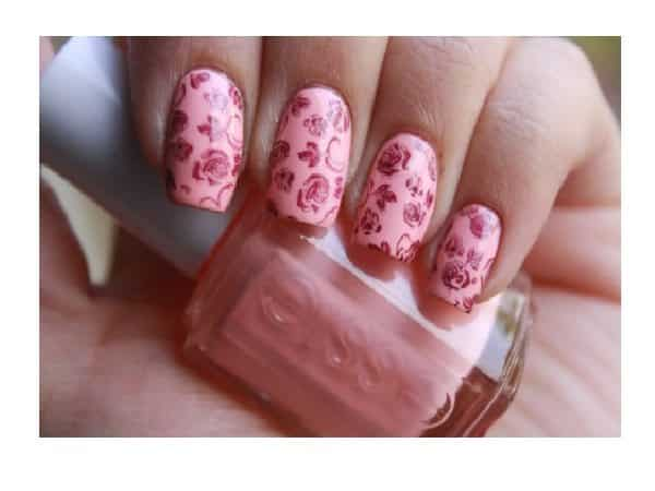 Pastel Pink Nails with Dark Pink Roses