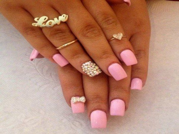 Pink Pastel Nails with Gold Dots and a Gold Bow