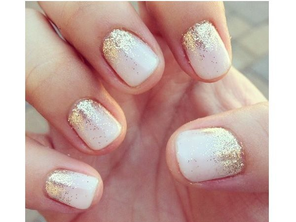 Pink Pastel Nails with Gold Glitter