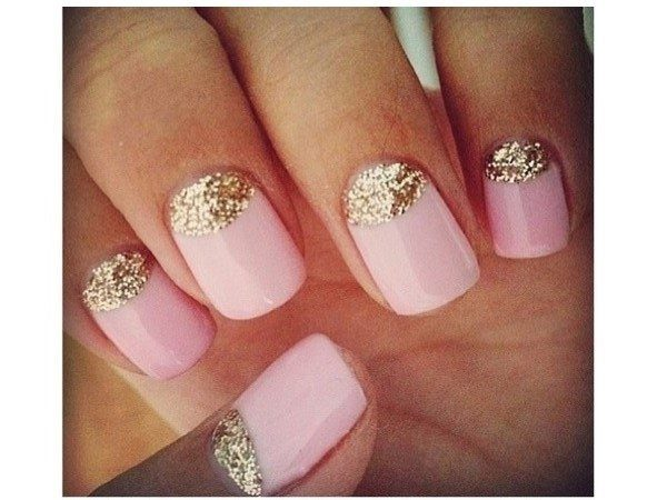 Pastel Pink Nails with Glitter Cuticles
