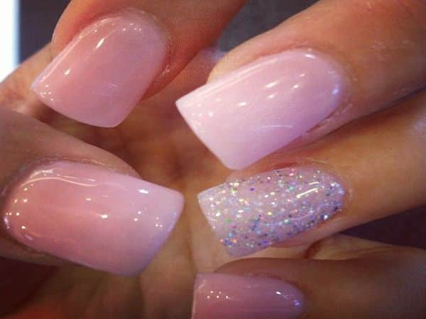 Light Pink Pastel Nails with Silver Glitter Nail