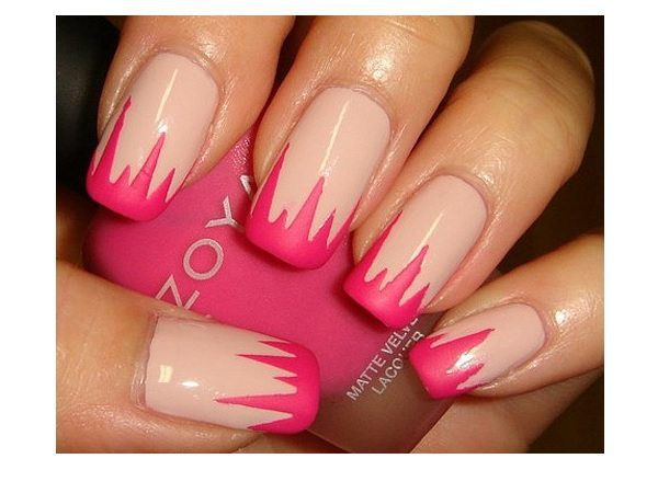 Matted Pink Pastel Nails with Robust Pink Tips