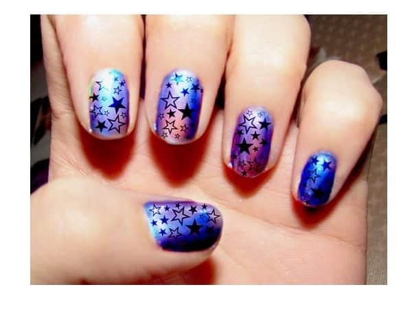 Purple and Blue Star Nails - 11 Stupendous Star Nail Designs