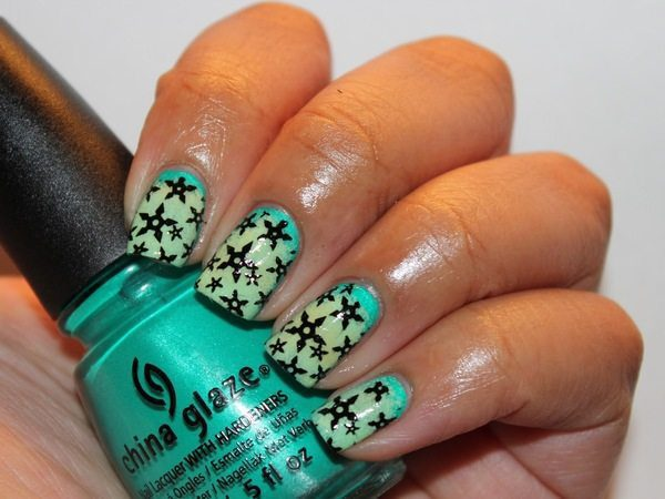Blue Nails with Black Star Decorations