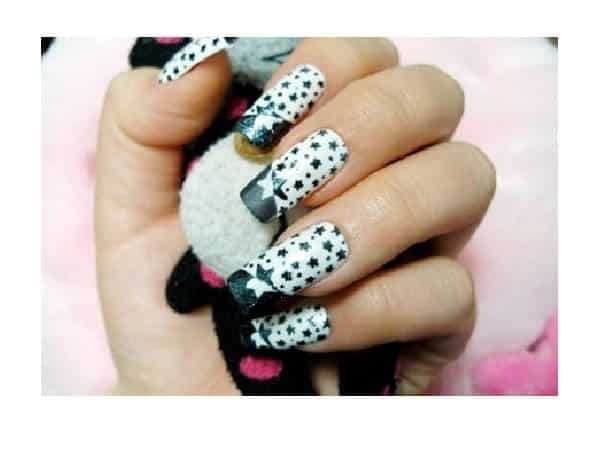 White Nails with Blue Tips and Stars