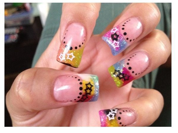 Plain Nails with Multicolored Tips Decorated with Stars and Dots