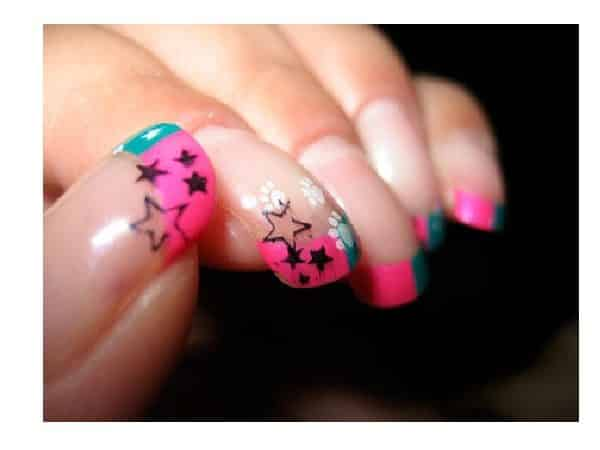 Plain Nails with Blue and Pink Tips Decorated with Stars and Paw Prints