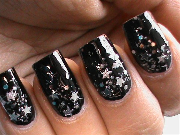 Shiny Black Nails with Star Glitter