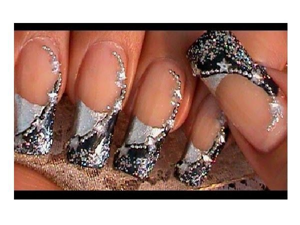 Plain Nails with Half Silver Half Black Tips with Silver Stars and Dots Decorations