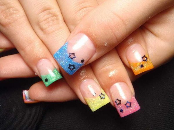 Plain Nails with Multicolored Tips and Black Stars