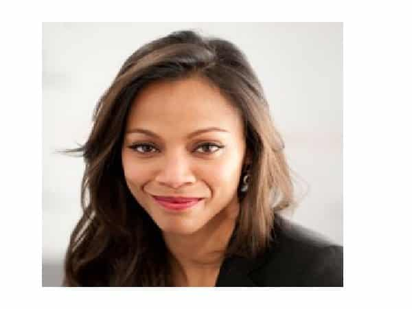 Zoe Saldana Straight Side Parted Shoulder Length Hair