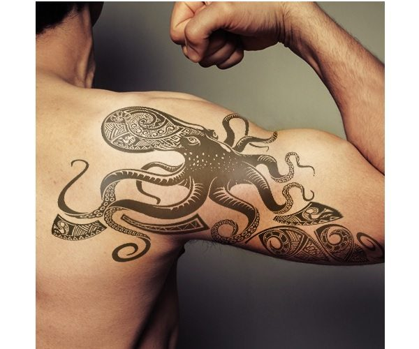 Grey Ink Tribal Octopus Arm Tattoo