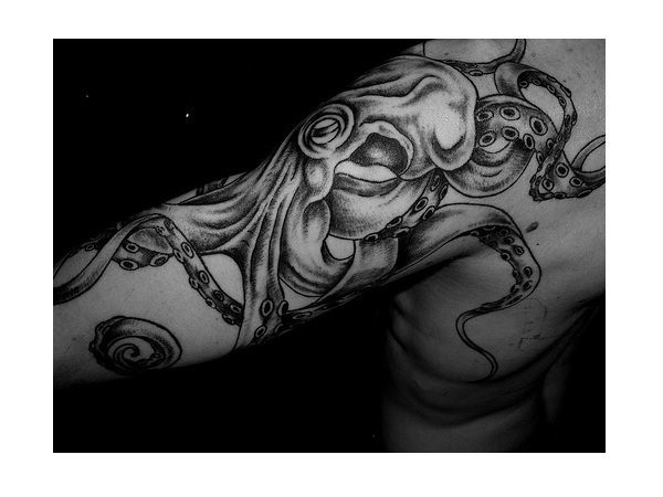Black Ink Bicep and Back Octopus Tattoo