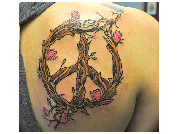Tree Branches with Flowers Peace Sign Tattoo