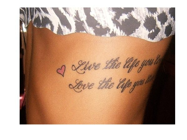 Live and Love the Life Rib Tattoo