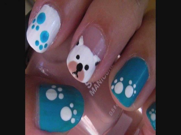 Blue, White, and Plain Doggy Nails