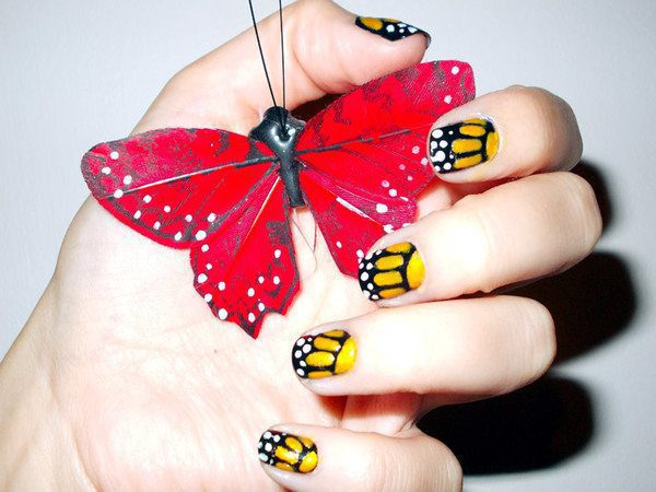 Orange Butterfly Nails