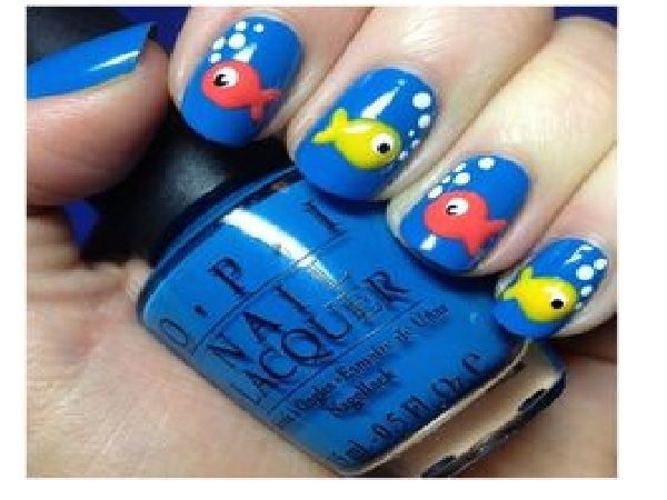 Fish on Blue Background Nail Designs