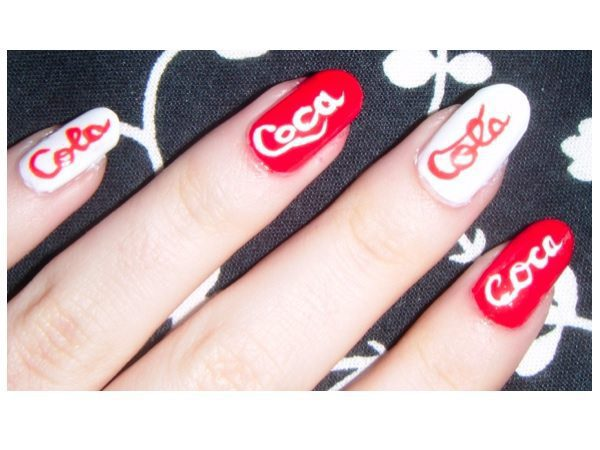Red and White Coca Cola Nails