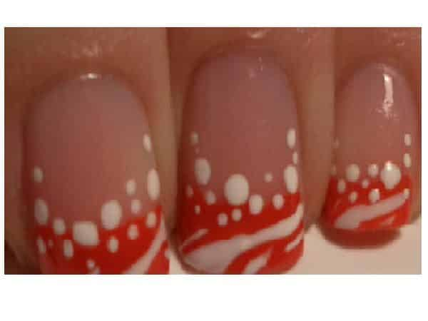 Plain Nails with Red and White Tips and White Dots