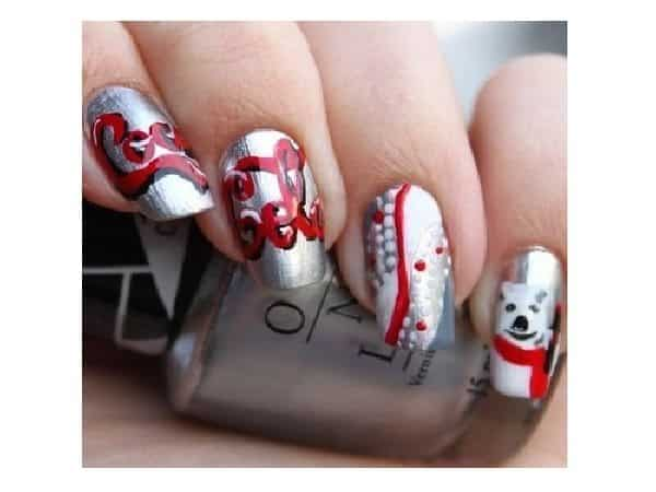 Silver Coca Cola Nails with the Famous Coca Cola Bears