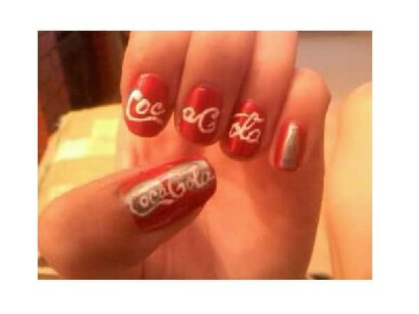 Red Coca Cola Nails with Words and Silver Bottles