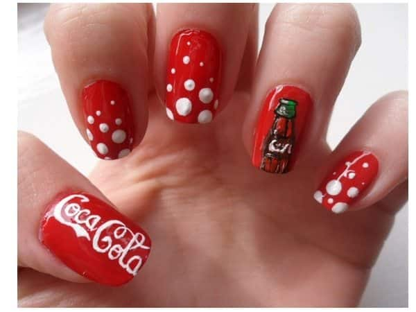 Red Nails with Bottles and White Dots
