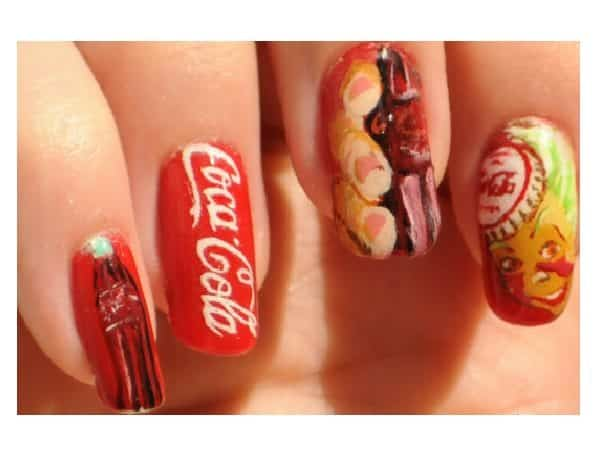 Red Coca Cola Nails with Classic Logo, and Bottle