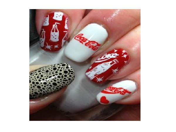 White, Red and Black Nails with Bubbles, Bottles, and the words Coca Cola
