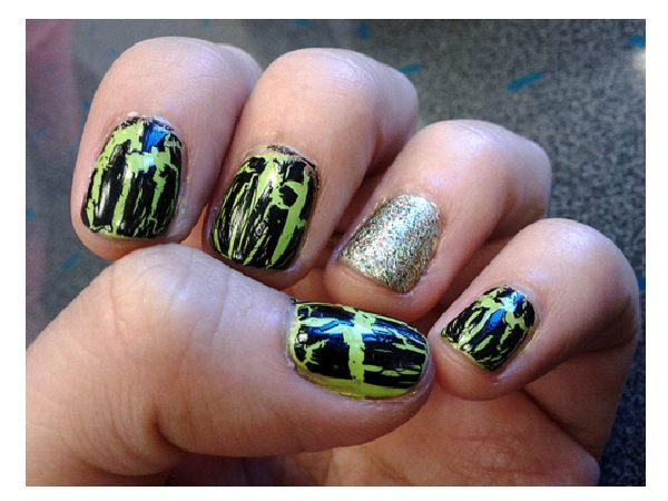 Black and Yellow Crackle Nails with One Glitter Silver Nail