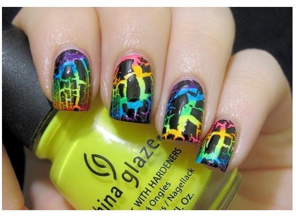 11 cool crackle nail designs dark purple rainbow crackle nails prinsesfo Choice Image