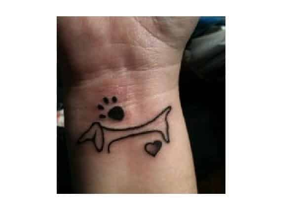 Dachshund Outline Wrist Tattoo with Heart and Paw Print