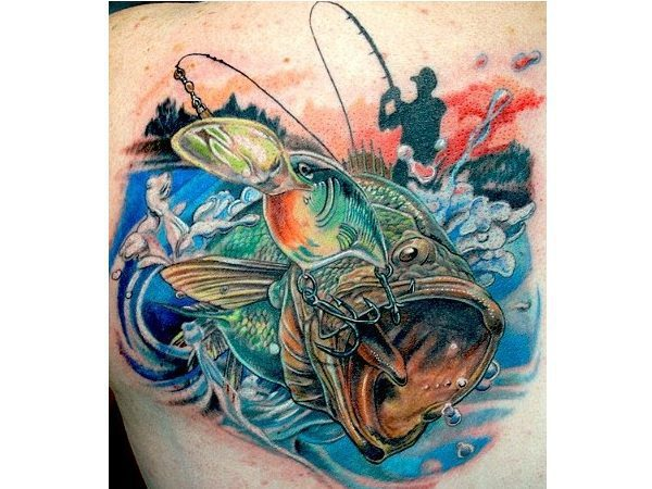 Hooked Fish and Fisherman Tattoo