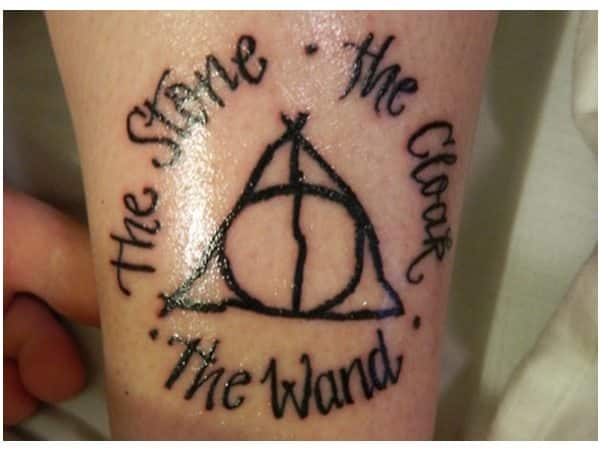 The Stone, the Cloak, and the Wand Round Deathly Hallows Tattoo