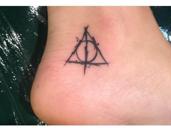 Deathly Hallows Tiny Heel Tattoo
