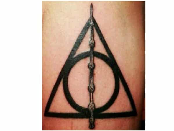 Deathly Hallows Tattoo with Elder Wand