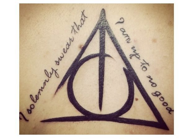 Deathly Hallows Tattoo with Marauder's Map Quote