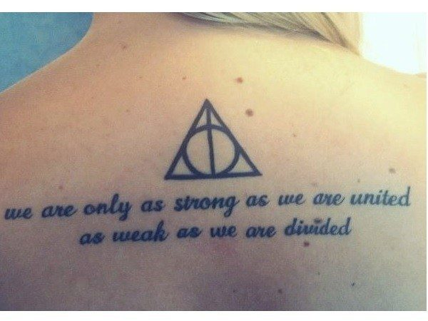 Deathly Hallows Symbol and Quote Tattoo