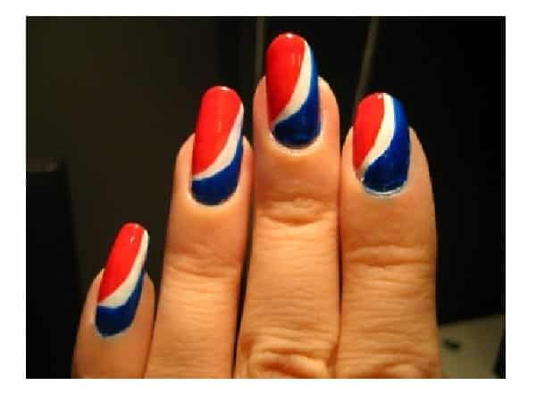 Red, White, and Blue Pepsi Swoosh Nails