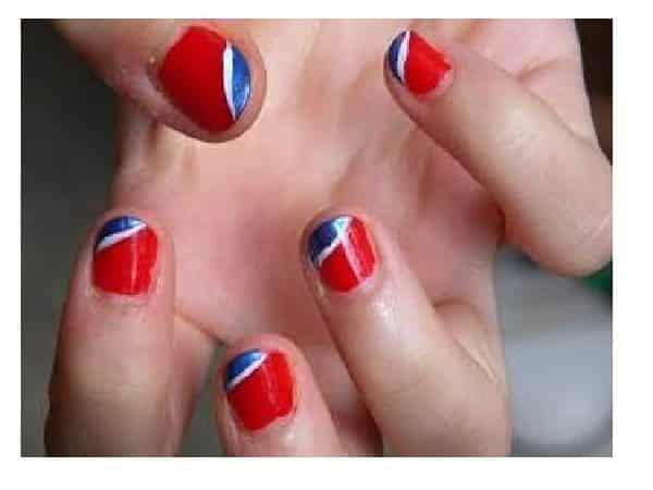 Red Nails with Pepsi Tri Colored Decorations