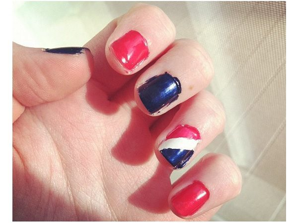 Red, White and Blue Nails with Single Triple Colored Pepsi Nail