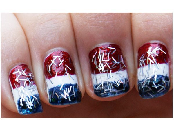Red, White, and Blue Pepsi Nails with Silver Confetti