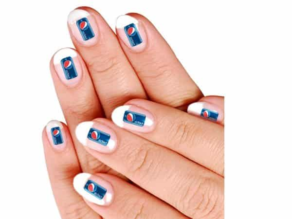 French Manicure Nails with Pepsi Cans