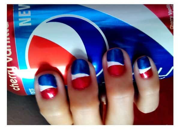 Red, White and Blue Metallic Pepsi Nails