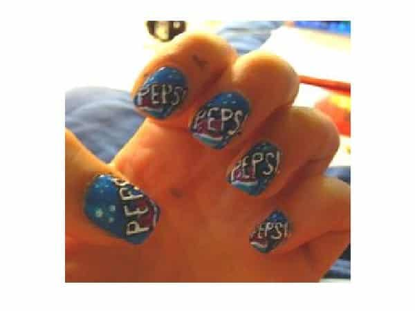 Blue Pepsi Nails with Words and Red Circles