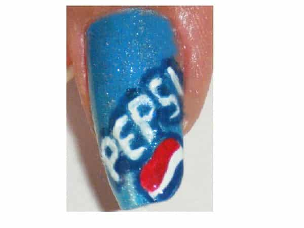 Glitter Blue Pepsi Nails with Red Circle