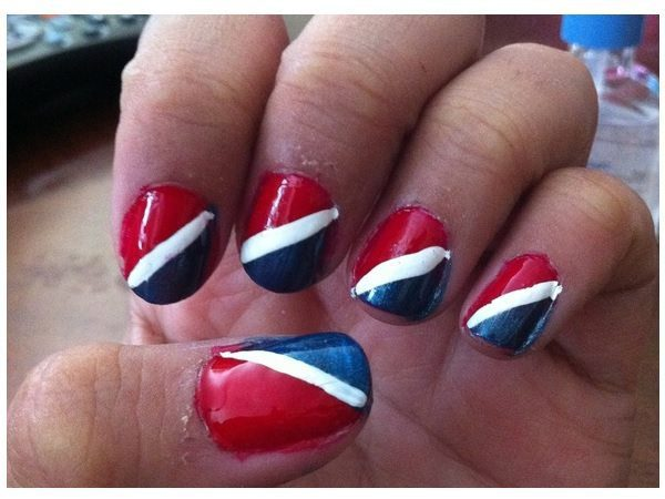 Dark Red, White and Pepsi Blue Pepsi Nails