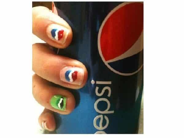 Plain Nails with Red, White, and Blue Circles, Plus Green Nail with Green Pepsi Logo